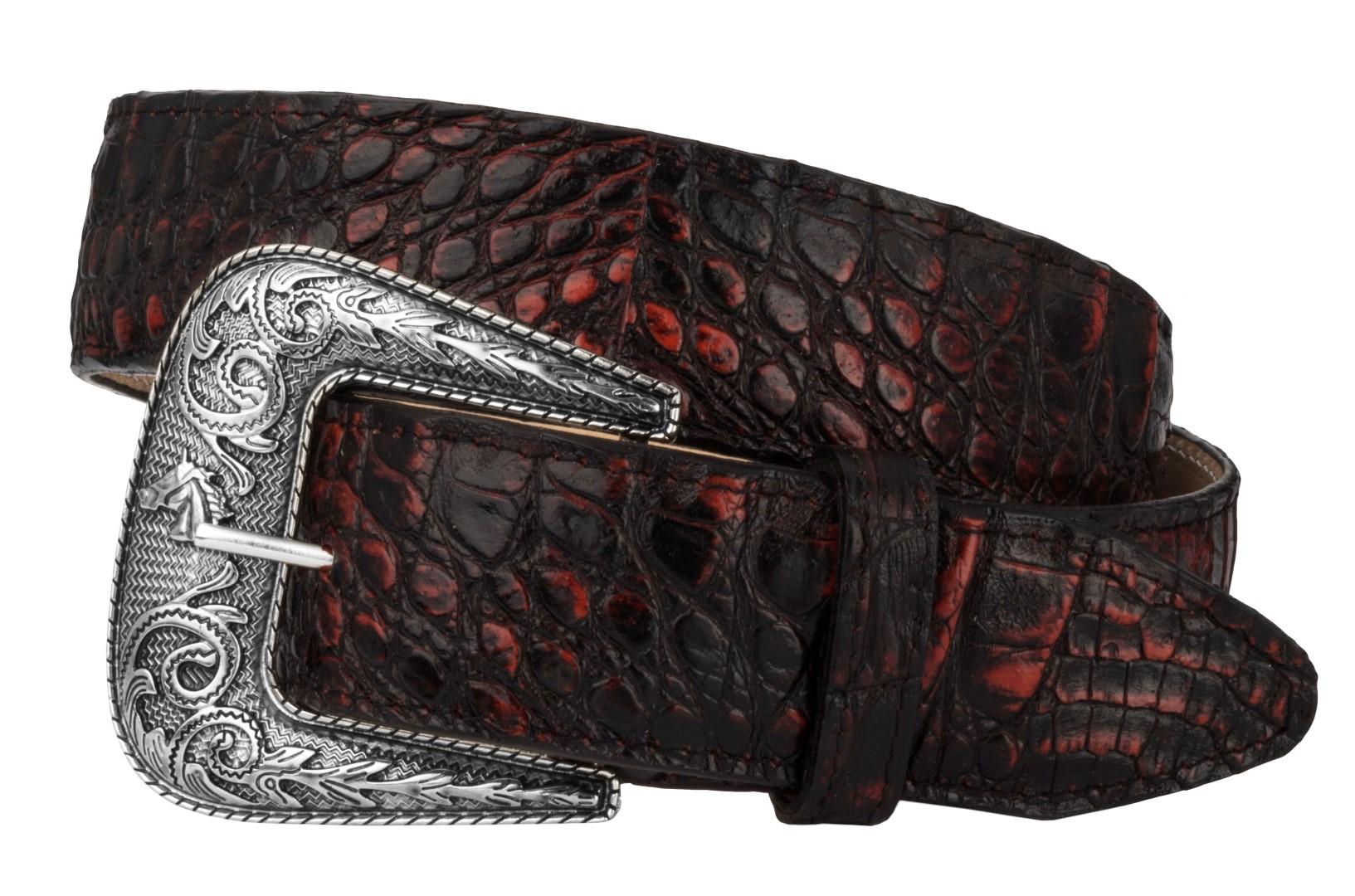 Mens Crocodile Alligator Pattern Leather Western Dress Cowboy Belt Black Cherry