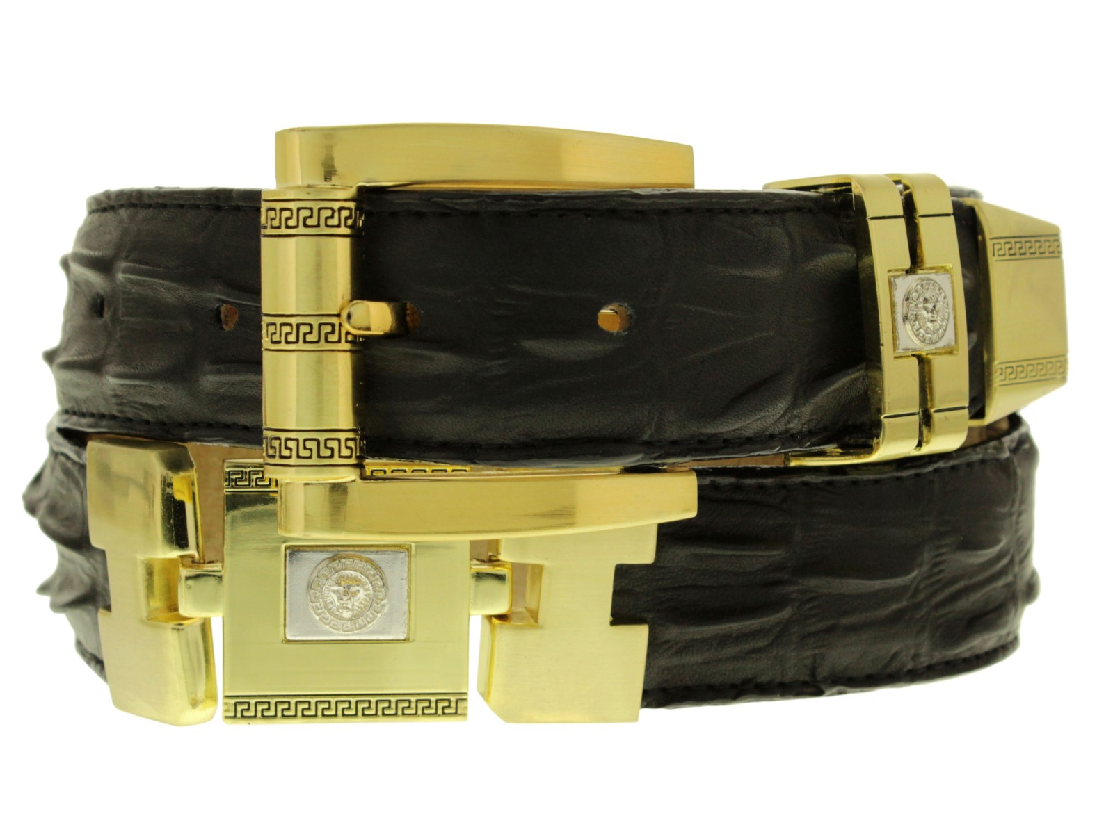 Black Genuine Leather Ostrich Crocodile Design Gold Links Western Cowboy Belt