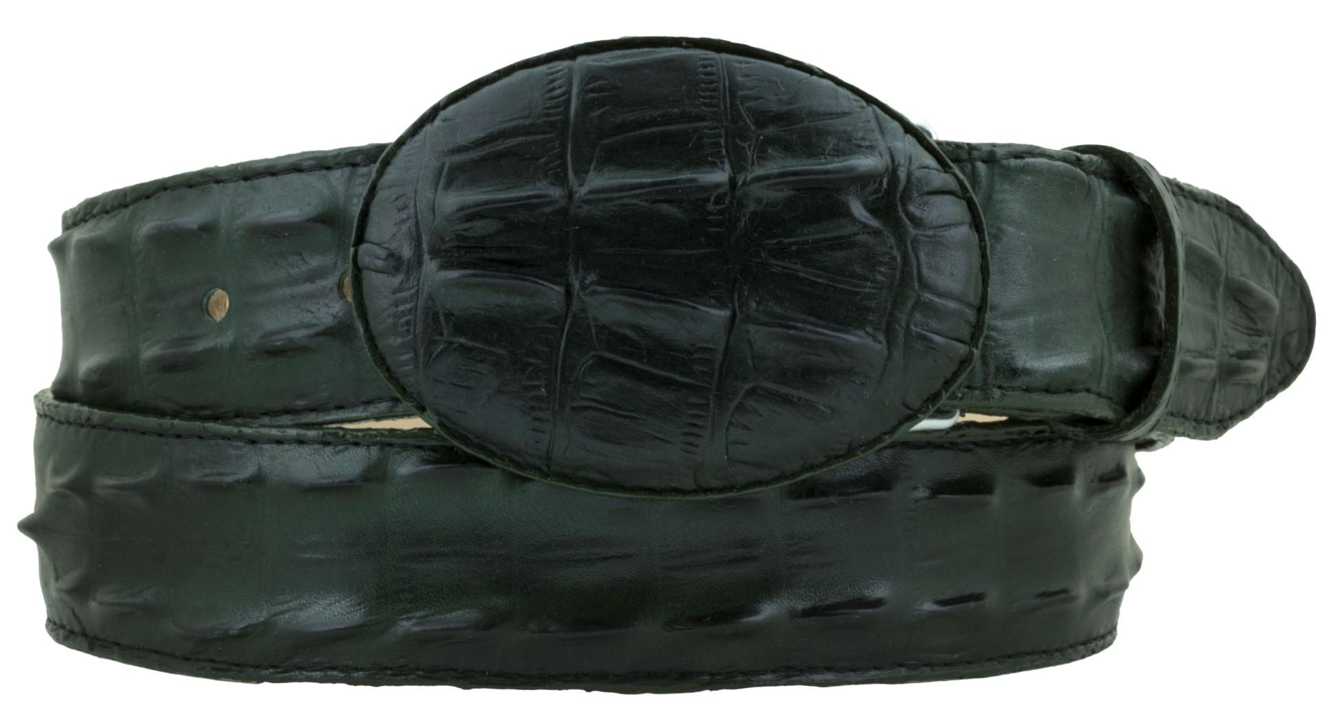 Mens Crocodile Tail Belt Print Leather Western Dress Black Cherry Buckle Cinto