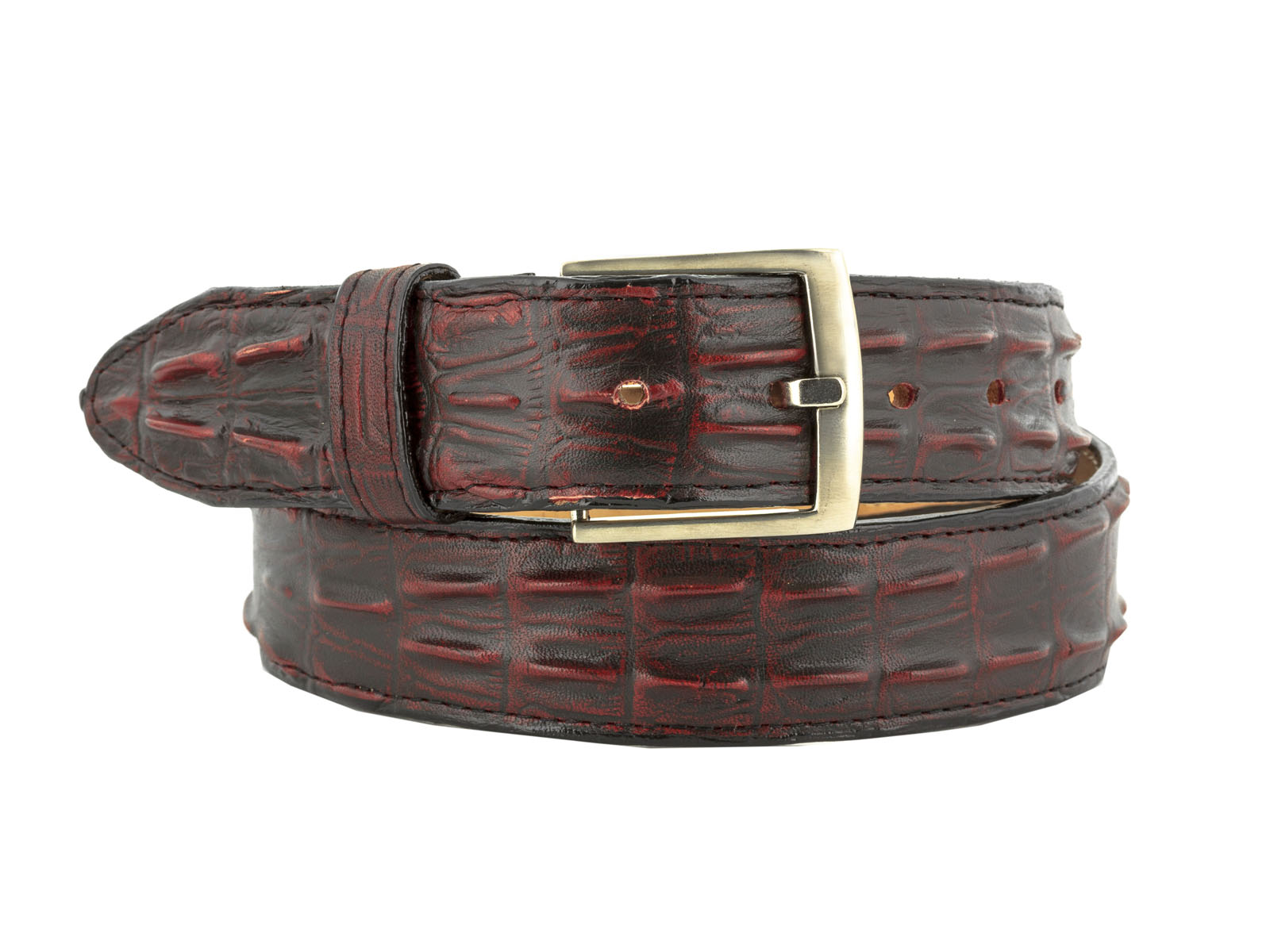 Cowboy Professional Mens Brown Crocodile Tail Leather Western Belt Round Buckle 52