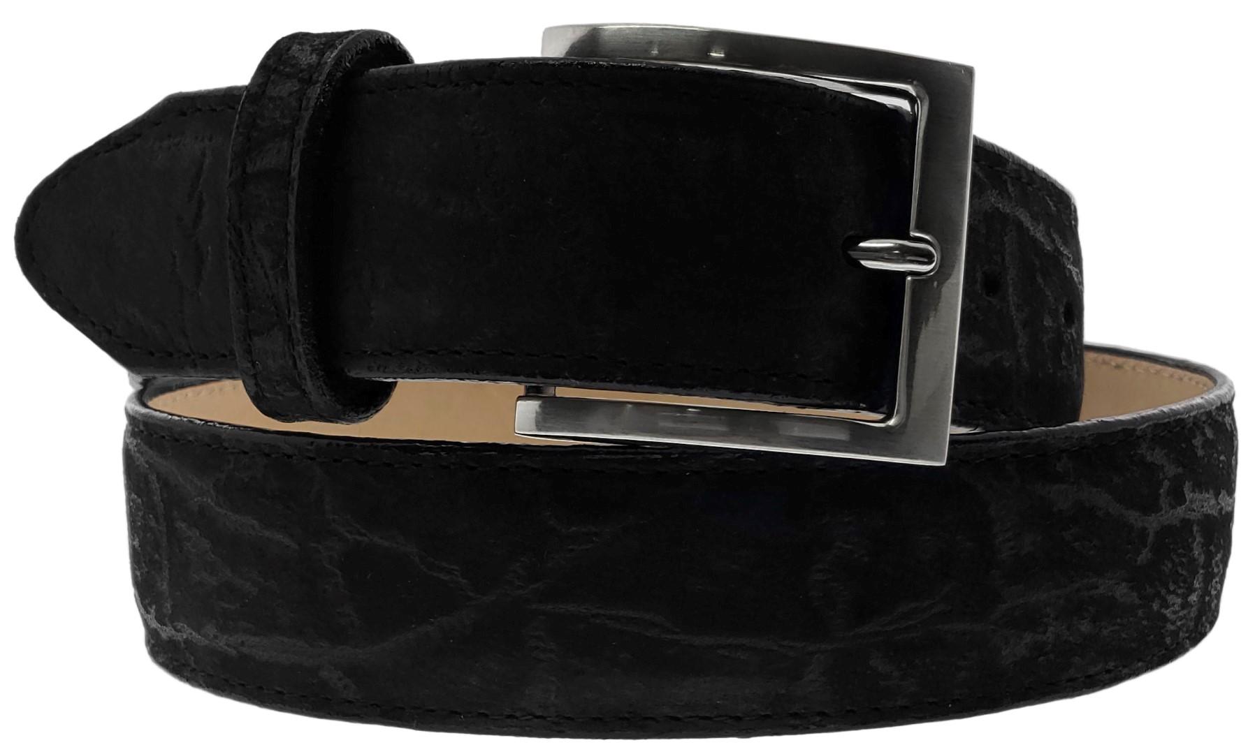Mens Black Stingray Pattern Leather Western Cowboy Belt Rodeo Buckle Cinto