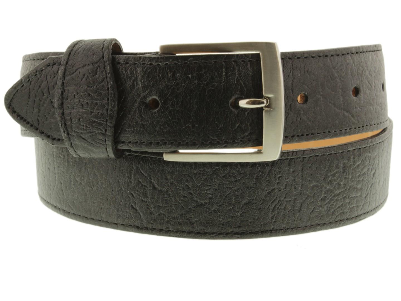 Mens Black Shark Print Leather Cowboy Belt Western Casual Buckle Cinto Rancho