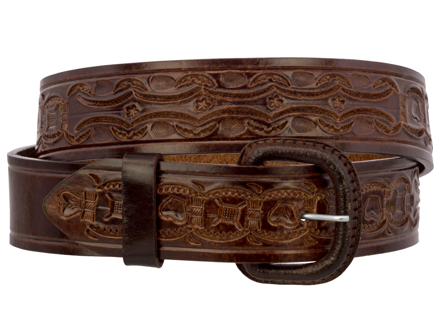 Mens Black Tooled Braided Western Belt Cowboy Rodeo Real Leather Cinto