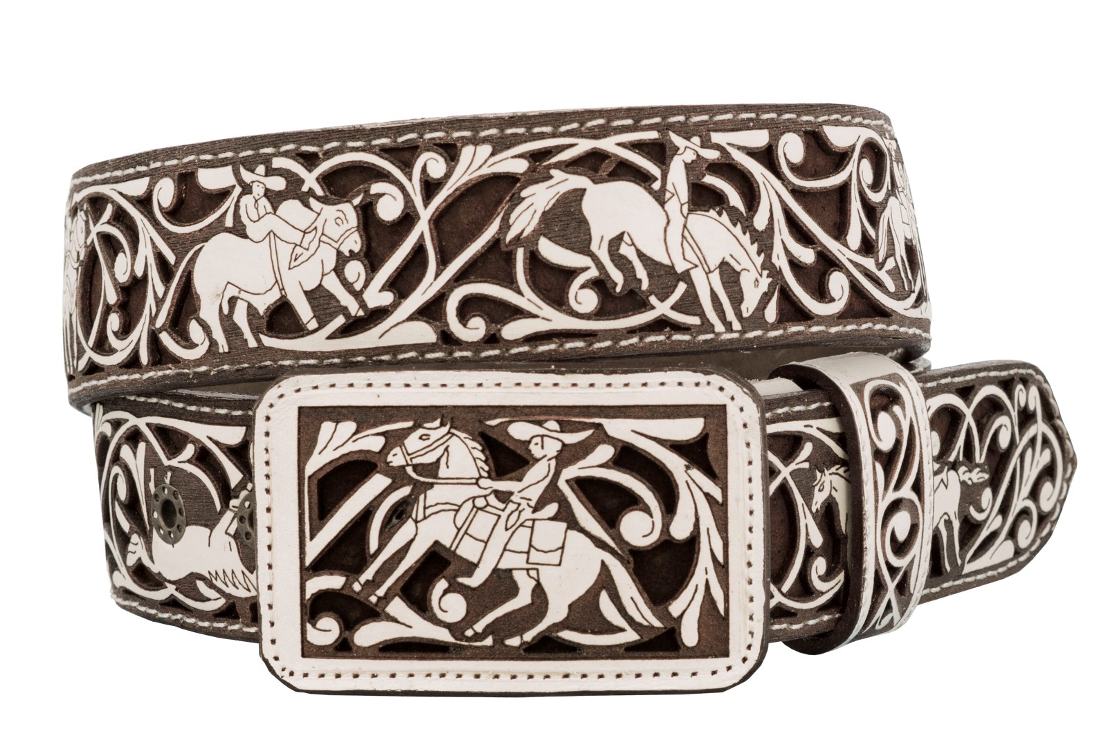 El Presidente Mens Red Ostrich Quill Print Cowboy Belt Rodeo Buckle