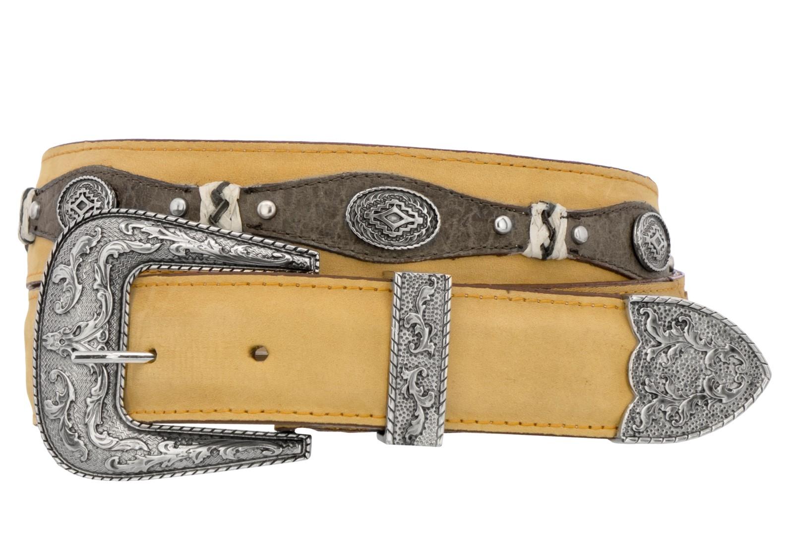 Mens-Concho-Western-Belt-Genuine-Leather-Cowboy-Silver-Studs-Buckle-Sand