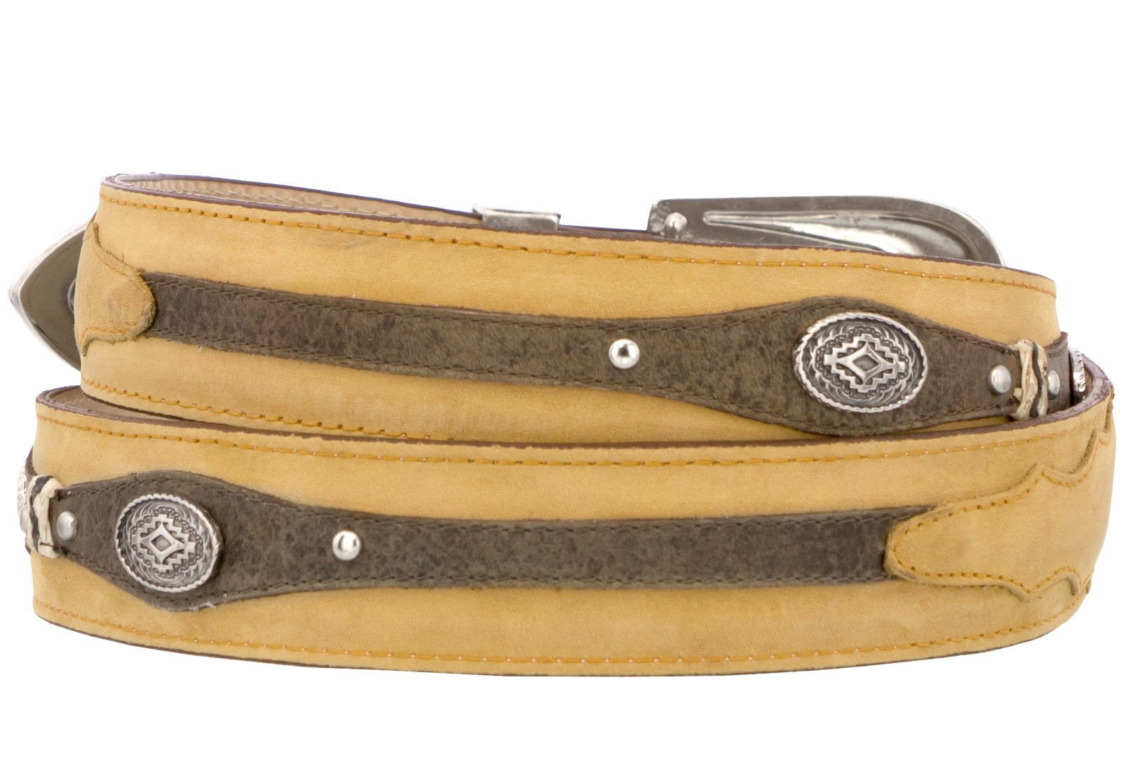 Mens-Concho-Western-Belt-Genuine-Leather-Cowboy-Silver-Studs-Buckle-Sand thumbnail 2