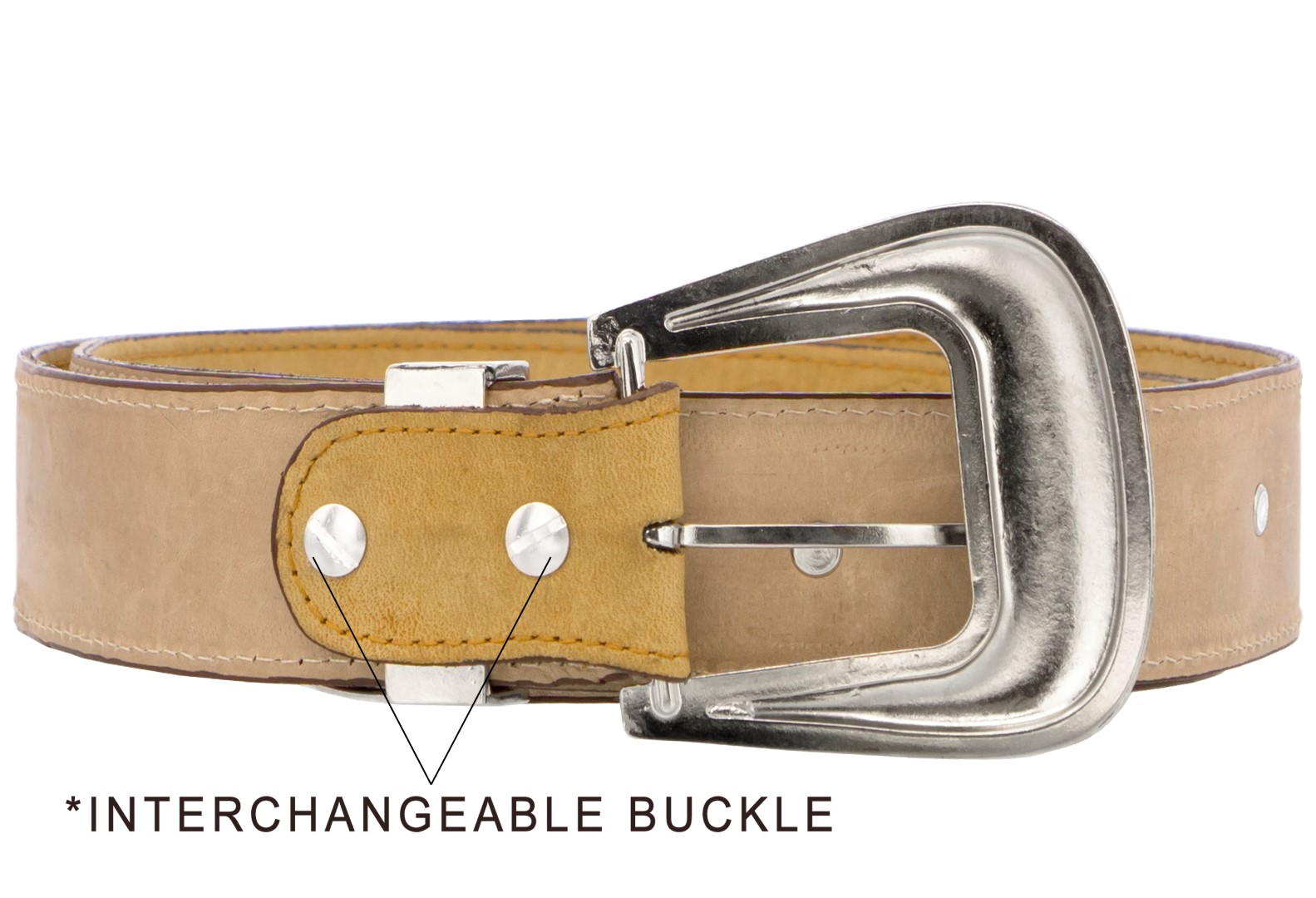 Mens-Concho-Western-Belt-Genuine-Leather-Cowboy-Silver-Studs-Buckle-Sand thumbnail 3