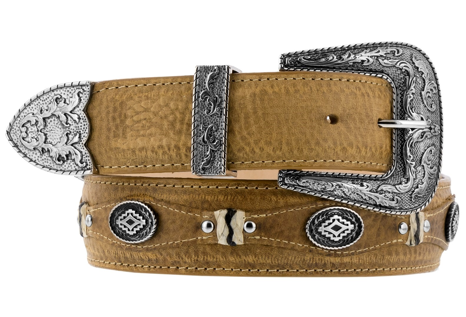 Details About Mens Western Belt Handmade Genuine Leather Concho Buckle Studded Tan