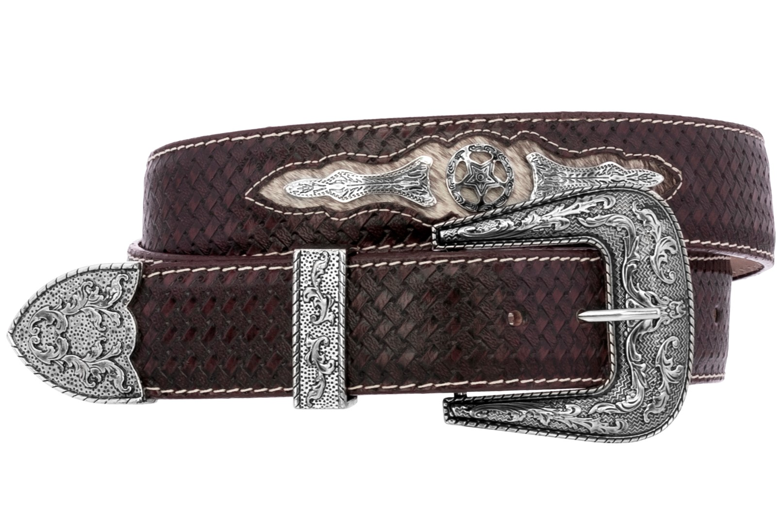 Details About Mens Western Cowboy Belt Ranger Concho Genuine Leather Rodeo Silver Buckle Brown