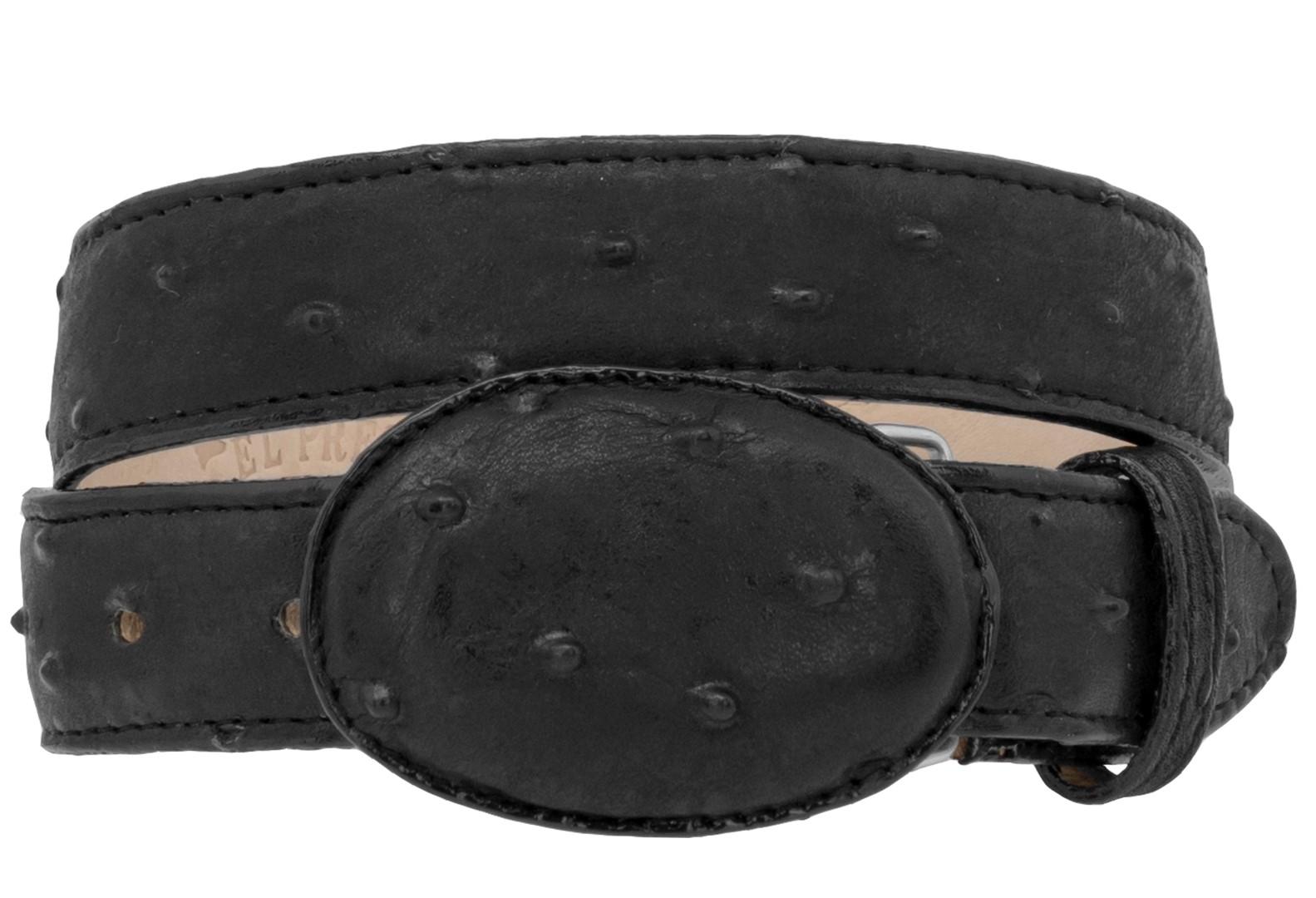 Kids Black Ostrich Western Belt Dress Pattern Leather Unisex Round Buckle