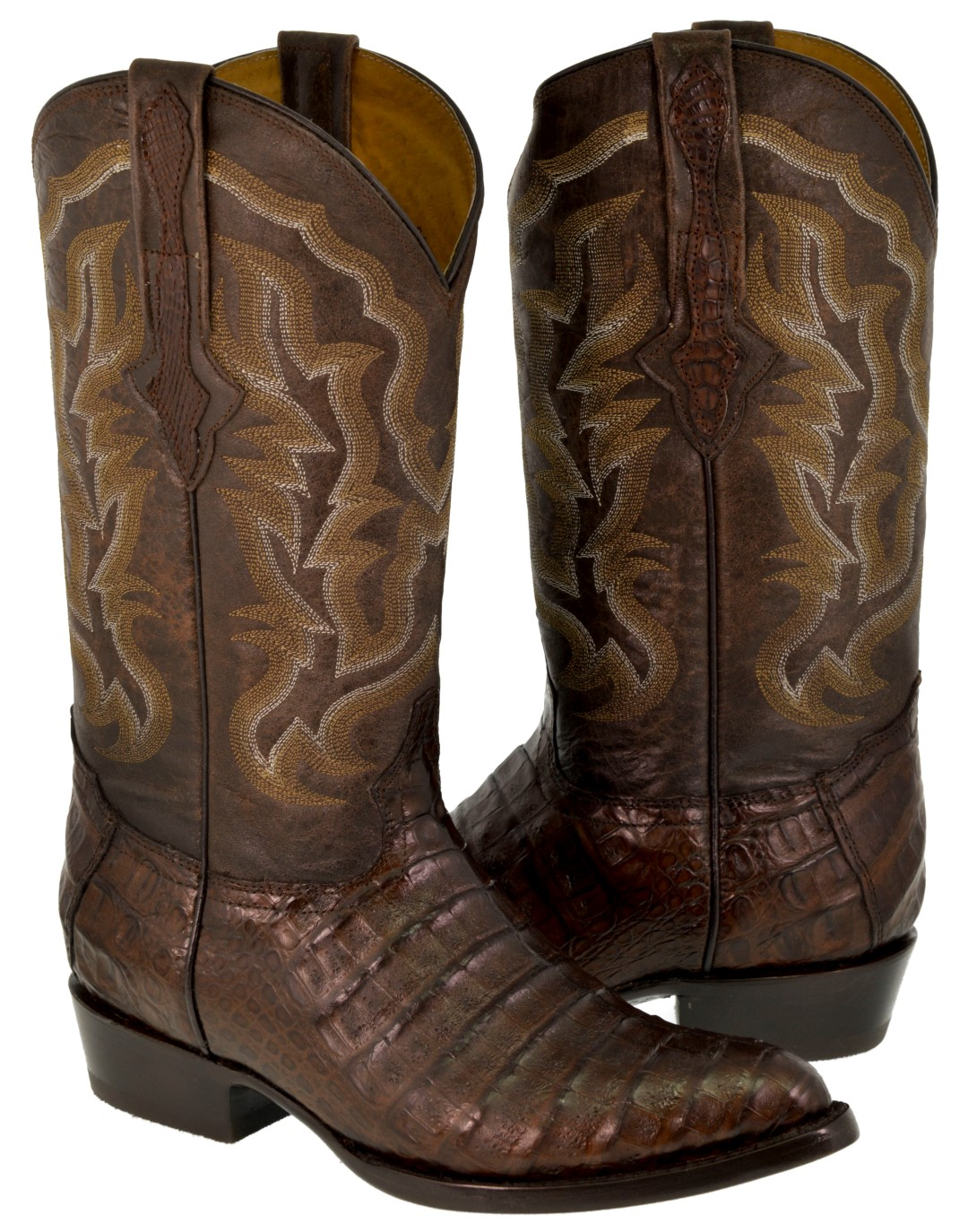 4f04c6364fe Men's Brown Genuine Crocodile Belly Exotic Skin Leather Cowboy Boots ...