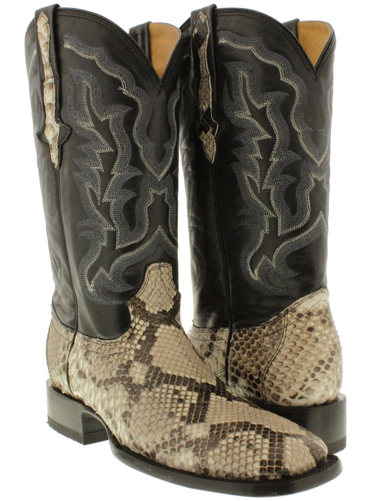 b2d7d4287f6 Details about mens exotic genuine snake skin python leather western cowboy  square toe boots...