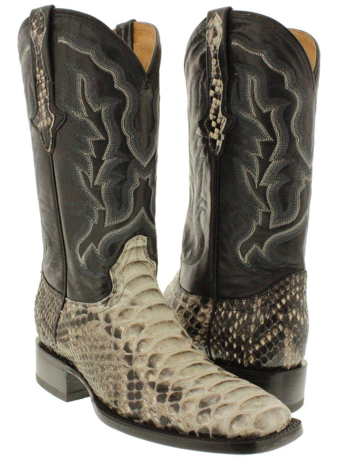mens real python rattle snake skin leather cowboy boots square toe western ebay. Black Bedroom Furniture Sets. Home Design Ideas