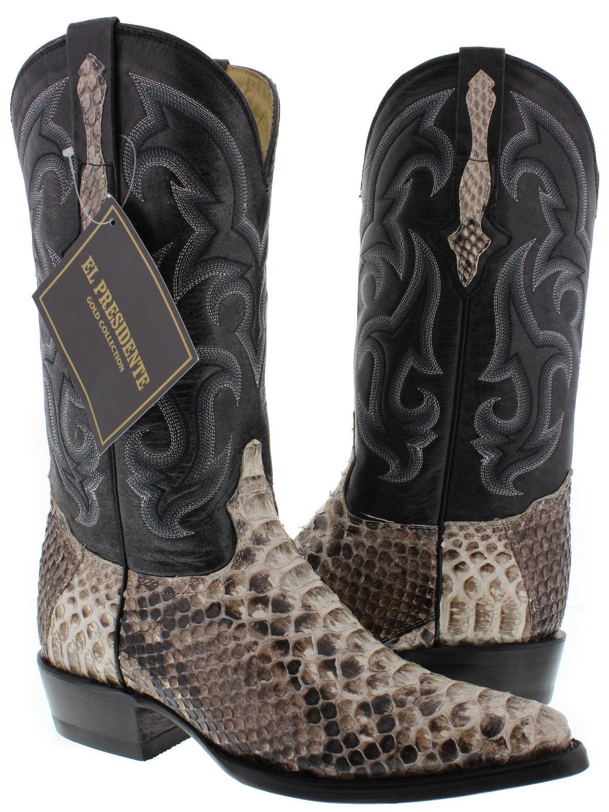 Men S Genuine Python Snakeskin Cowboy Boots Exotic Western