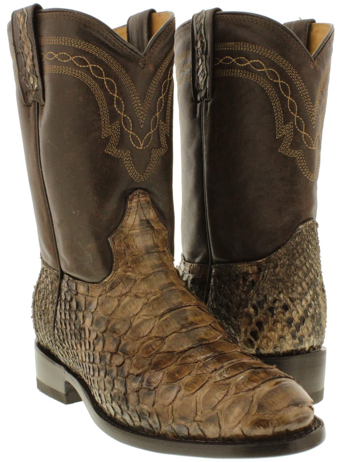 mens real brown python snake skin genuine leather cowboy boots western roper ebay. Black Bedroom Furniture Sets. Home Design Ideas