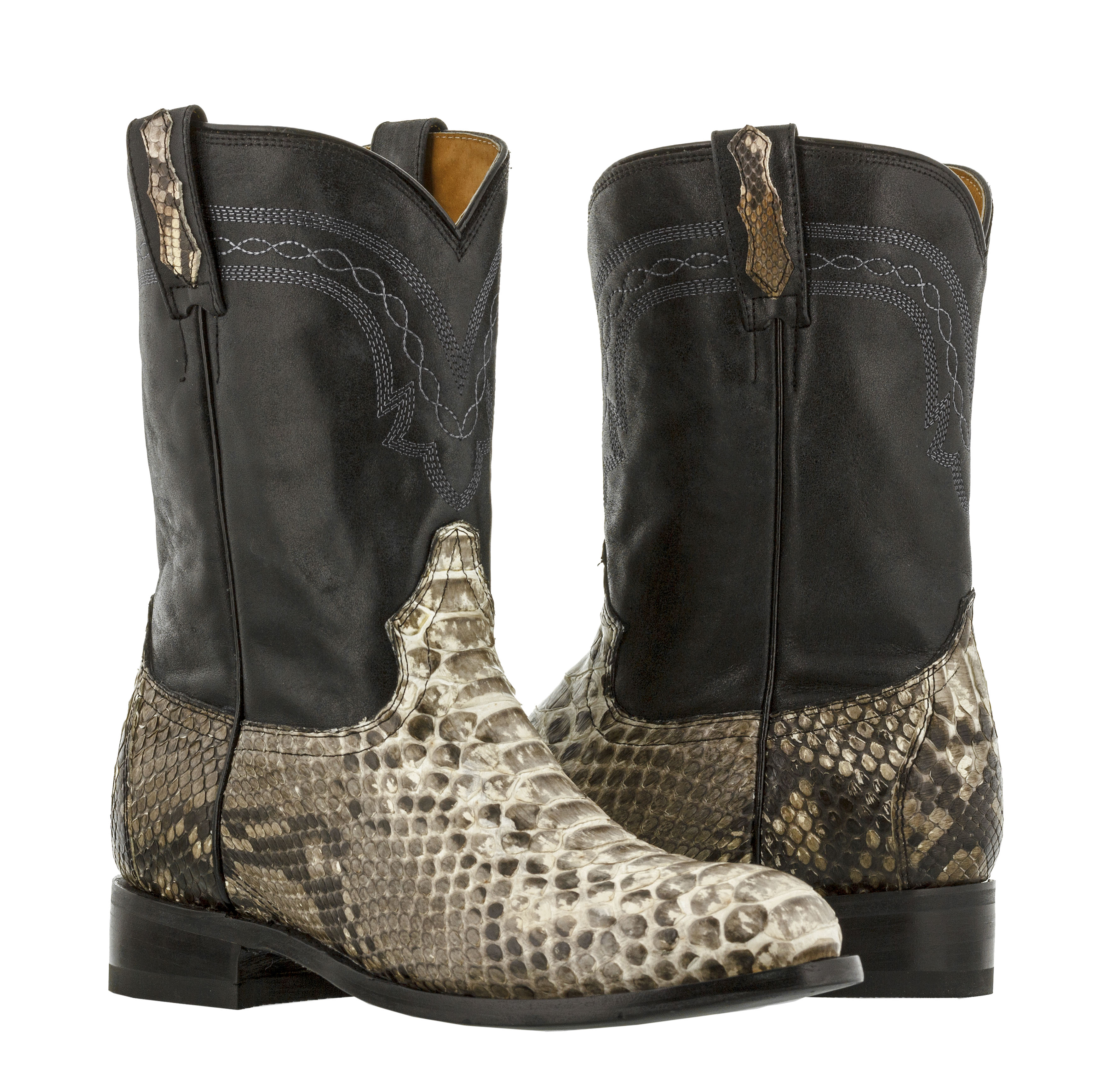 a687eaefaa8 Details about Men's Exotic Genuine Python Snakeskin Cowboy Boots Western  Natural Roper Toe