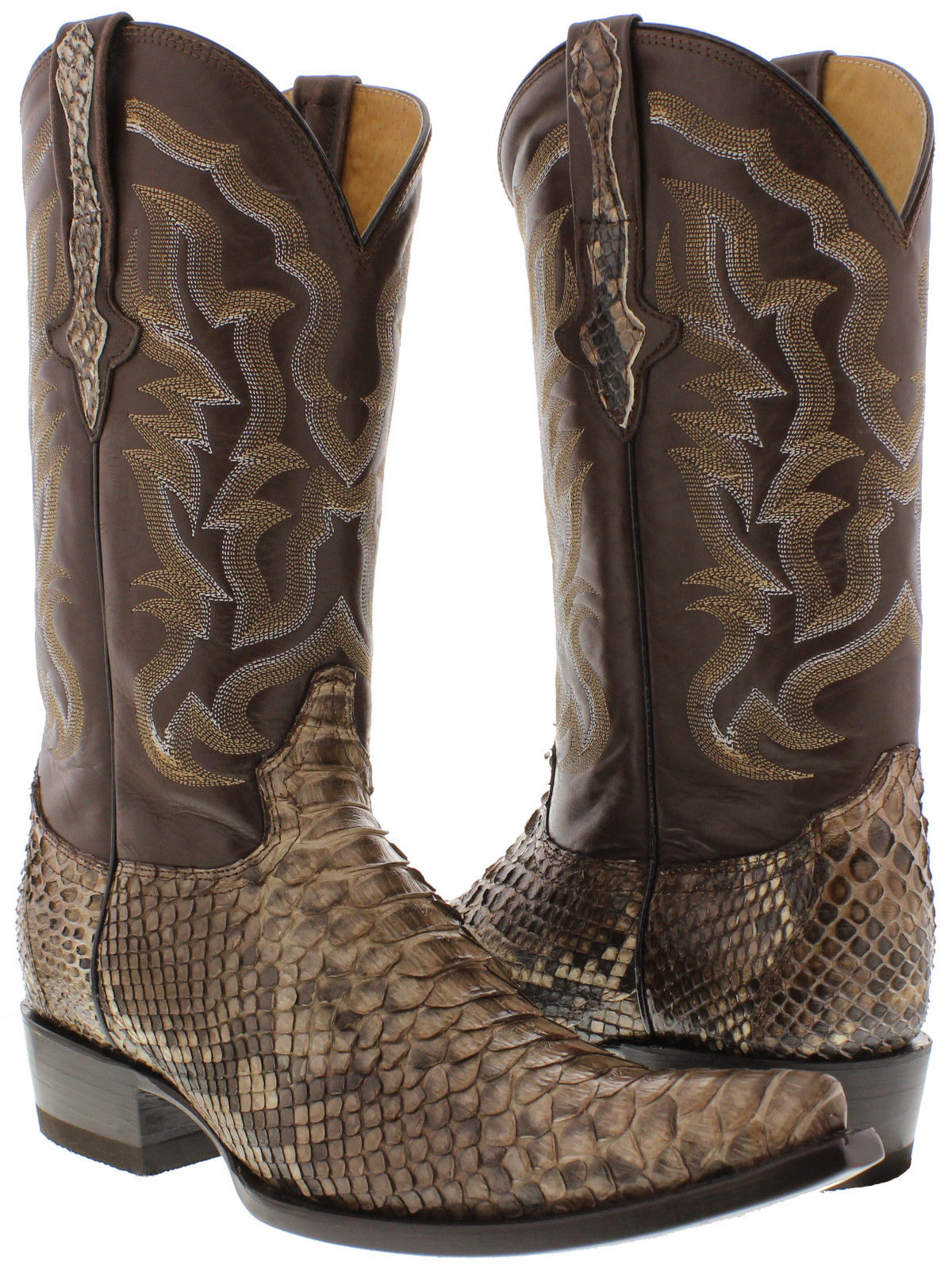 mens all real brown python snake skin exotic leather cowboy boots 3x pointed toe ebay. Black Bedroom Furniture Sets. Home Design Ideas