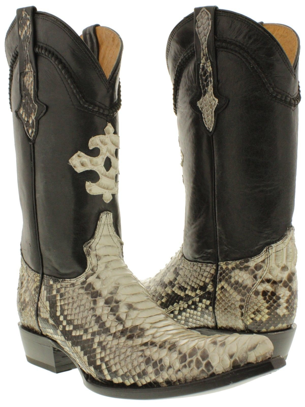 Mens Real Python Snake Skin Genuine Leather Cowboy Boots