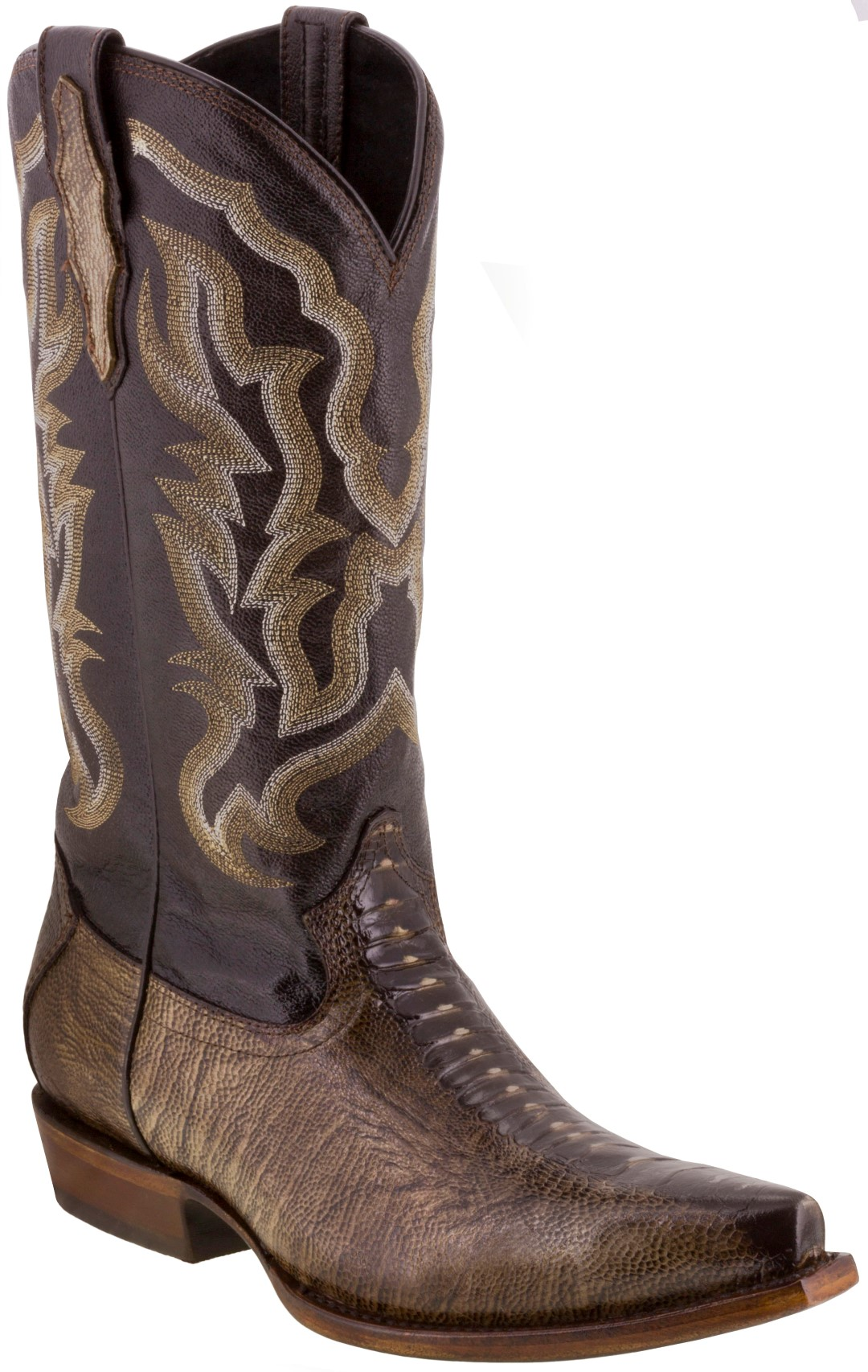 64007d3900e Mens Genuine Leather Brown Ostrich Leg Print Rodeo Cowboy Boots ...
