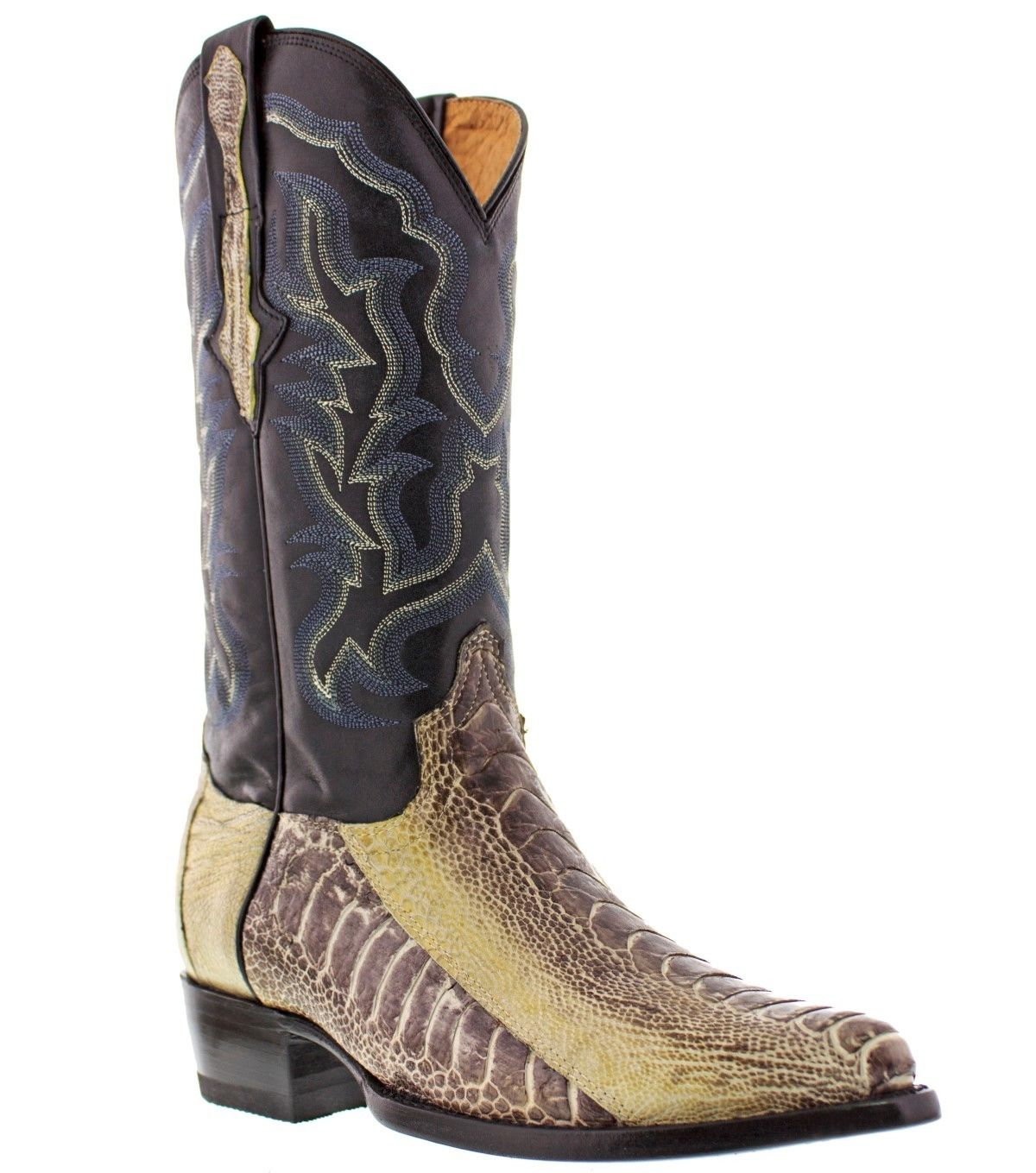 Mens Smooth Real Ostrich Foot Leg Leather Cowboy Boots
