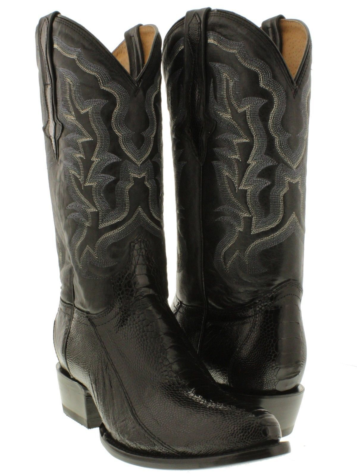 bcc8ecdbe1b Details about Mens Black Smooth Genuine Ostrich Skin Leather Cowboy Boots  Western Round Toe