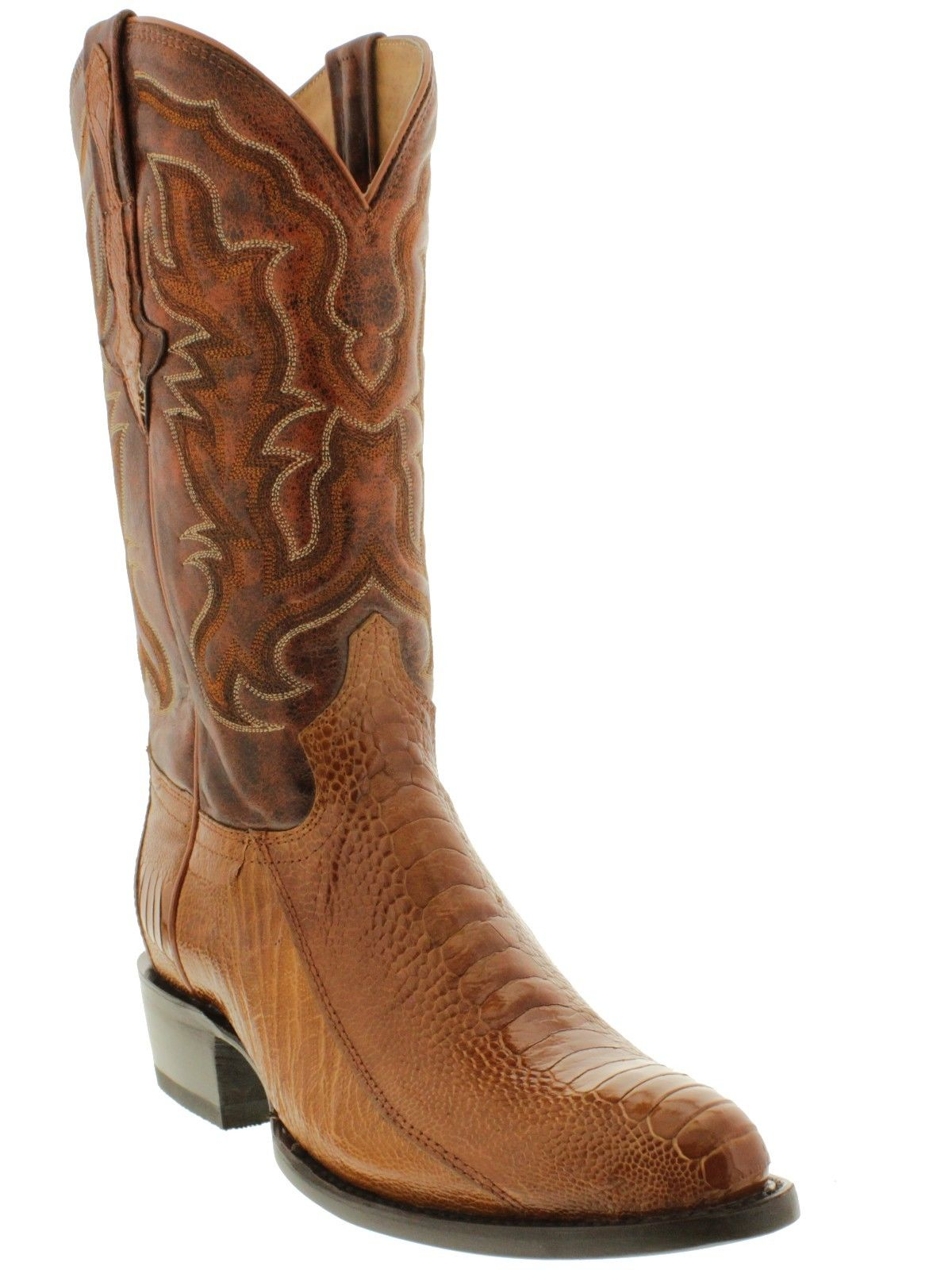 mens cognac brown real smooth ostrich foot leather cowboy