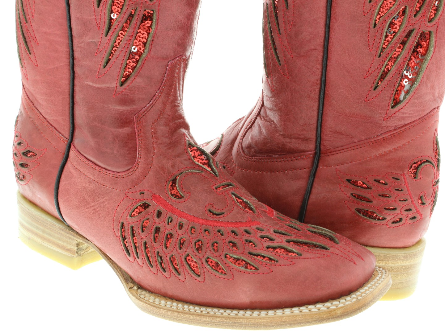 6bd76c9d537 Womens Red Flower Wings Sequins Leather Wear Cowgirl Boots Square ...