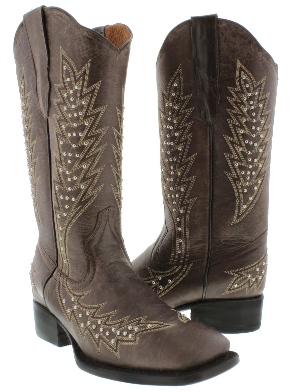 3150ce2cbb0 Details about Womens Brown Studded Cowgirl Boots Silver Genuine Leather  Square Toe