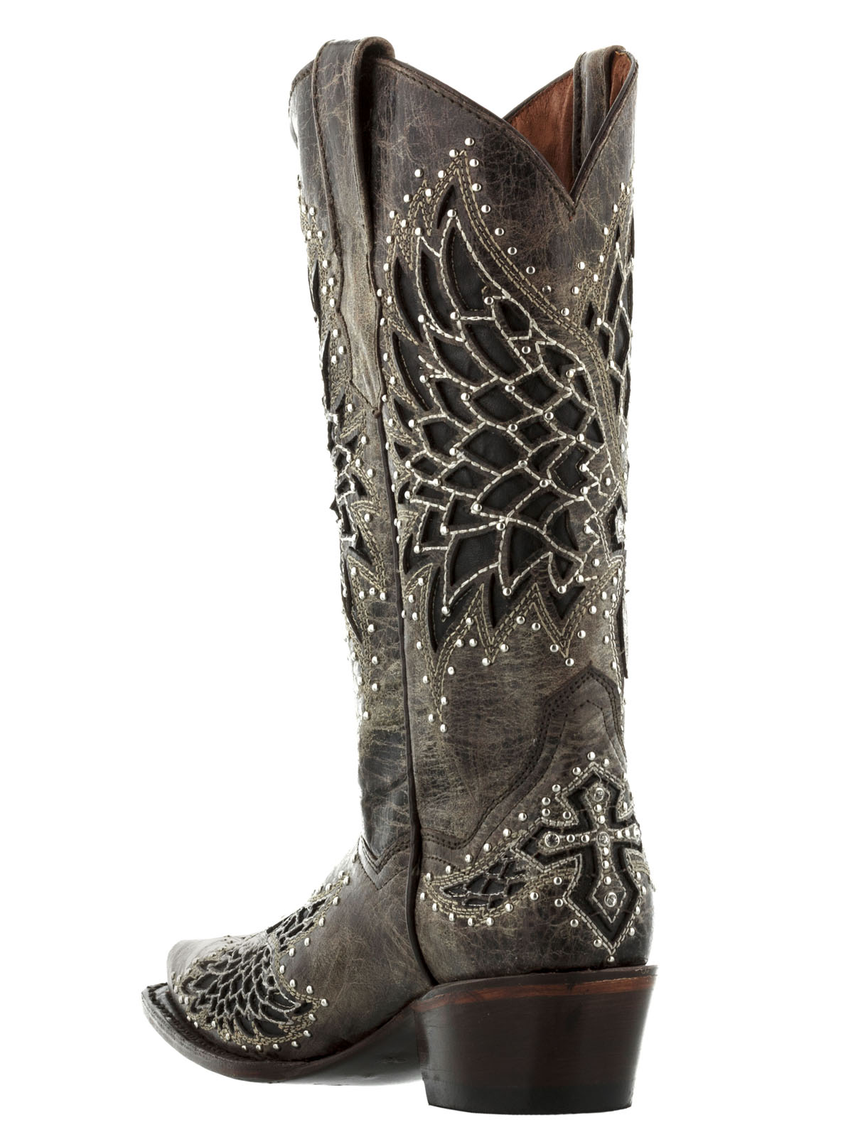 womens wings cross rhinestones studded cowgirl leather western ...