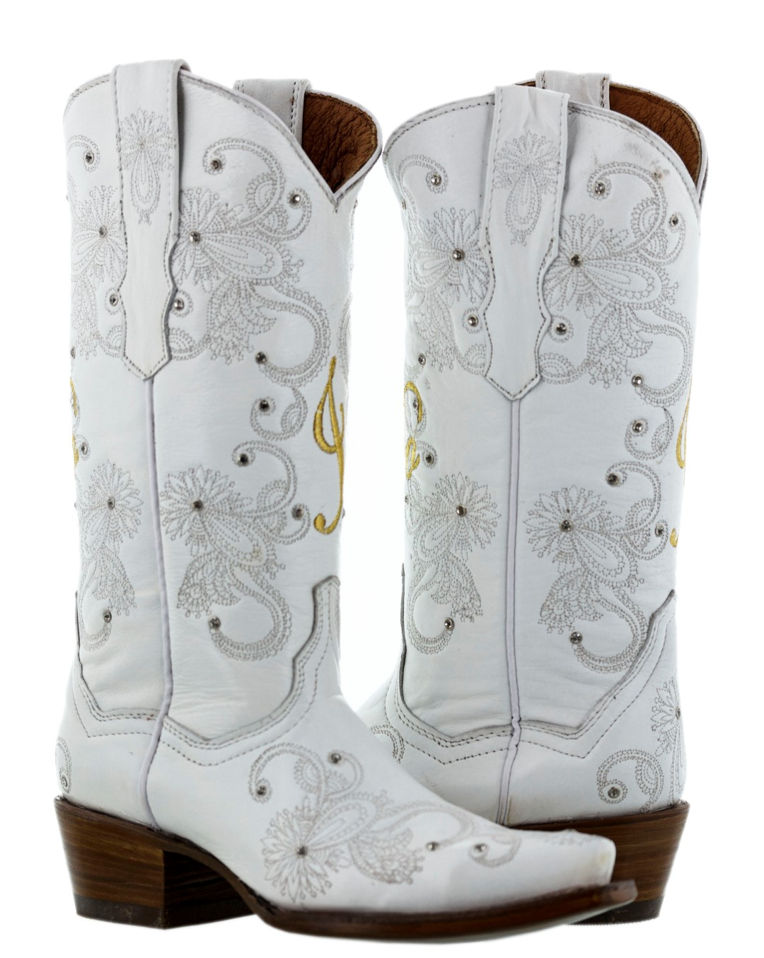 Womens Full White Gold Western Wedding Bride Rhinestone Leather Cowboy Boots