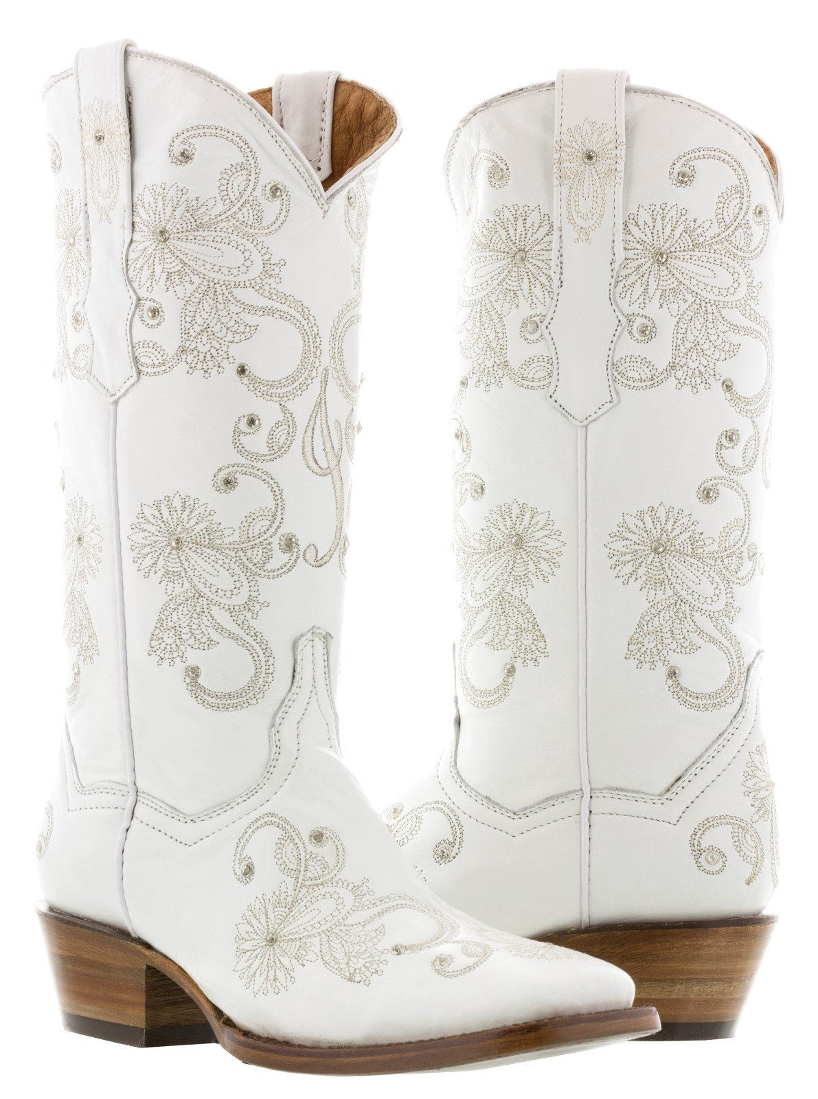 e4374cd6b0c Details about Womens White Wedding Leather Cowboy Cowgirl Boots Rhinestones  Bridal Western New