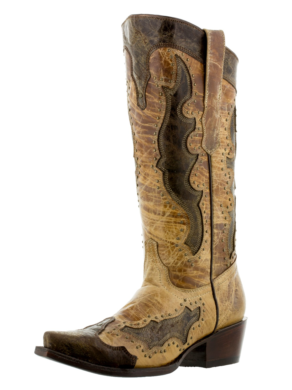 womens distressed sand leather cowboy gold studs