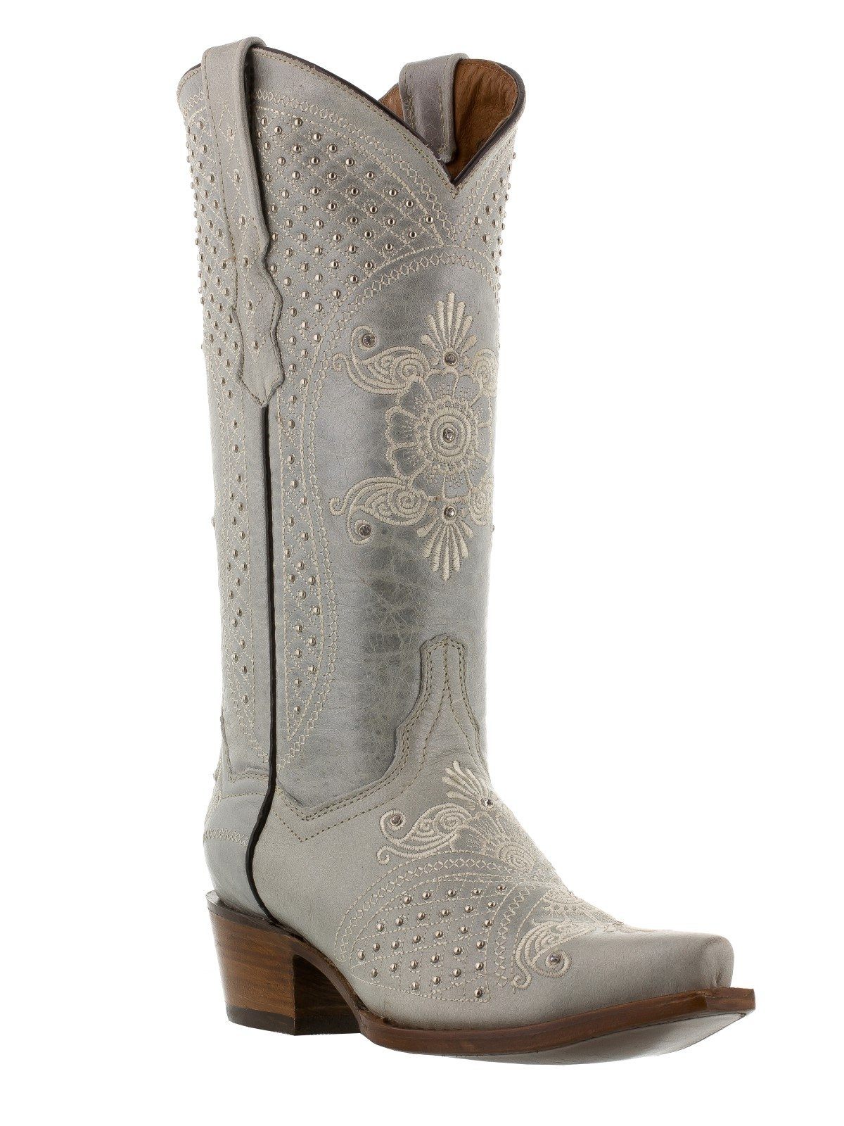 womens rhinestone cowboy boots wedding cowboy boots Womens Off White Leather Western Cowboy Wedding Boots Studs Rodeo Rhinestones