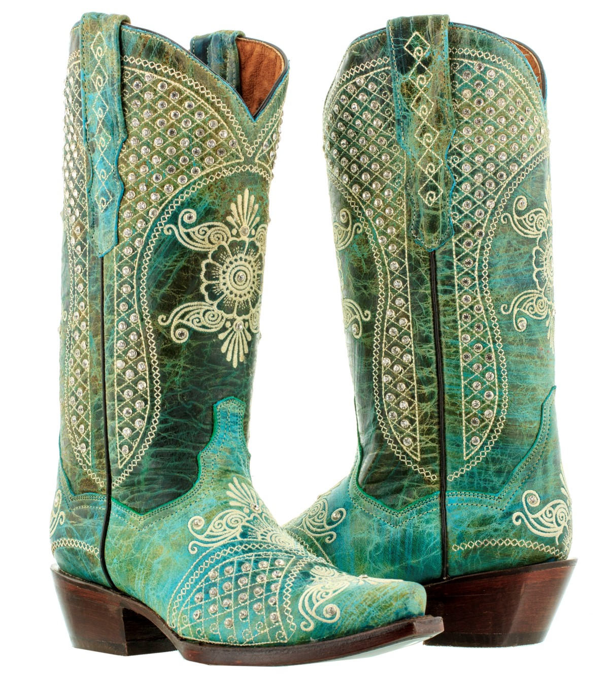 Wedding Cowboy Boots: Womens Turquoise Distressed Leather Rhinestones Western