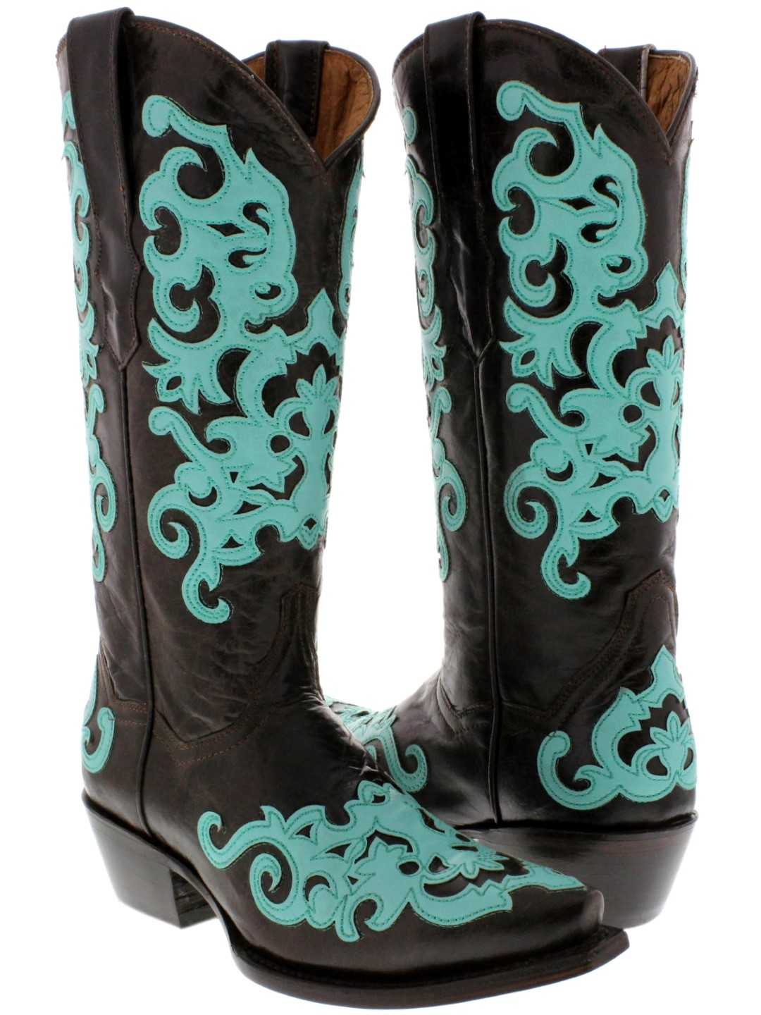 womens brown all real leather western cowboy boots overlay cowgirl rodeo riding