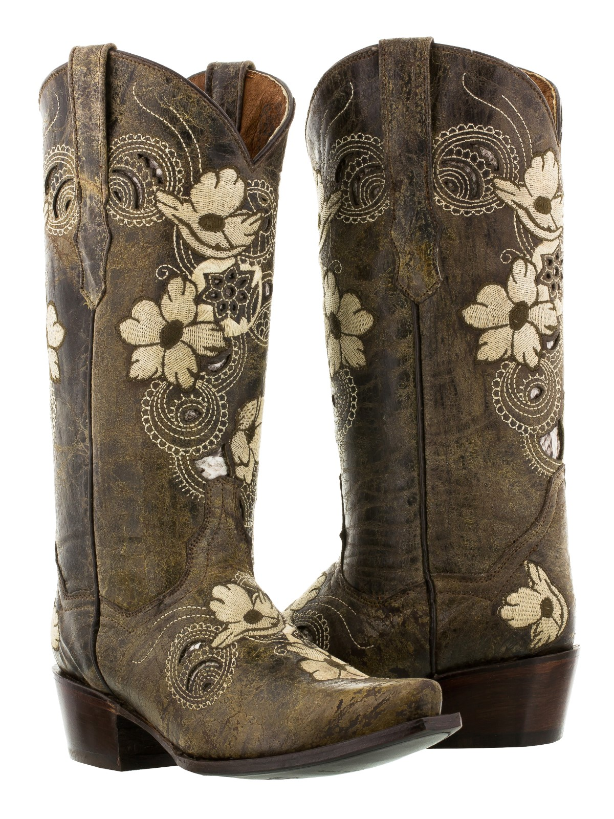 Womens distressed brown leather western cowboy cowgirl boots ...