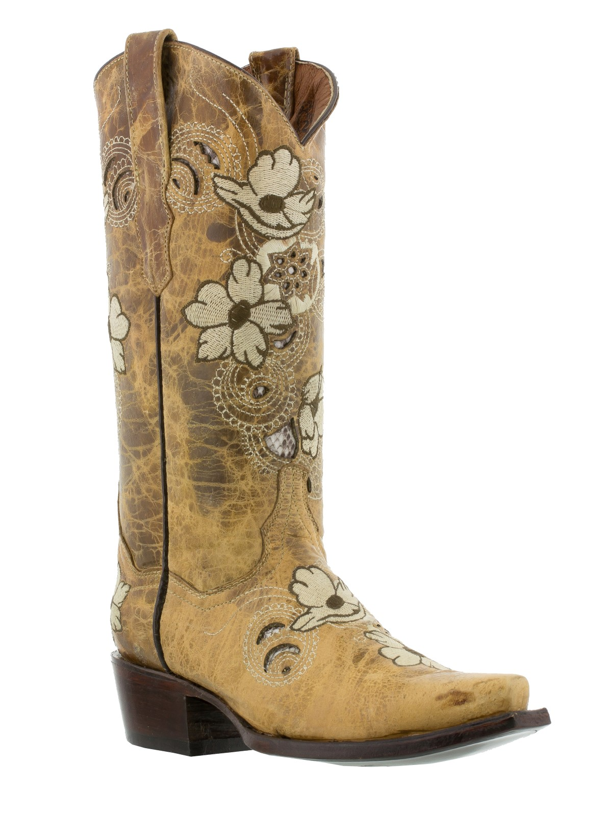 Womens distressed sand beige leather western cowboy cowgirl boots ...