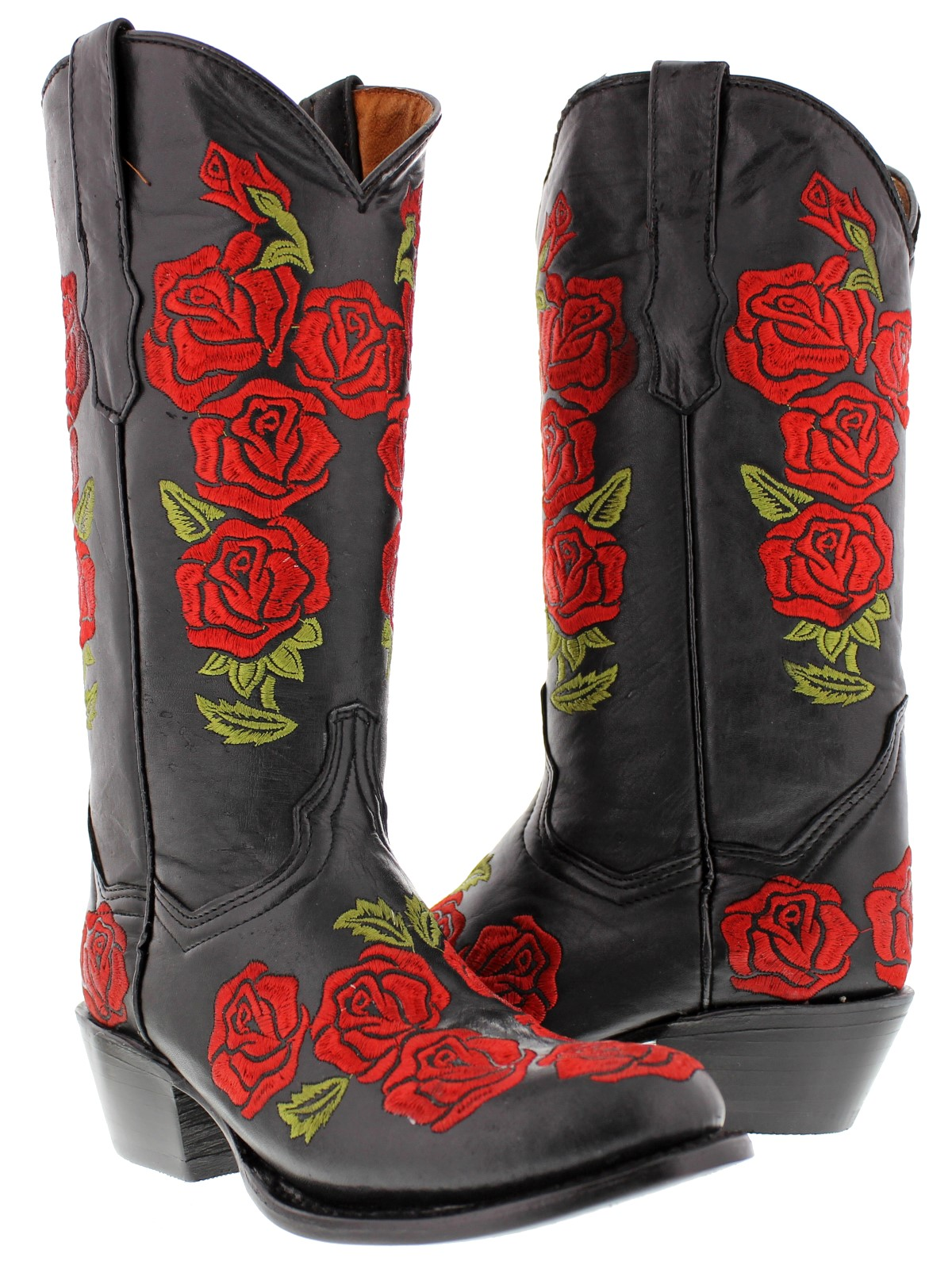Womens black red embroidered western leather cowboy cowgirl boots ...