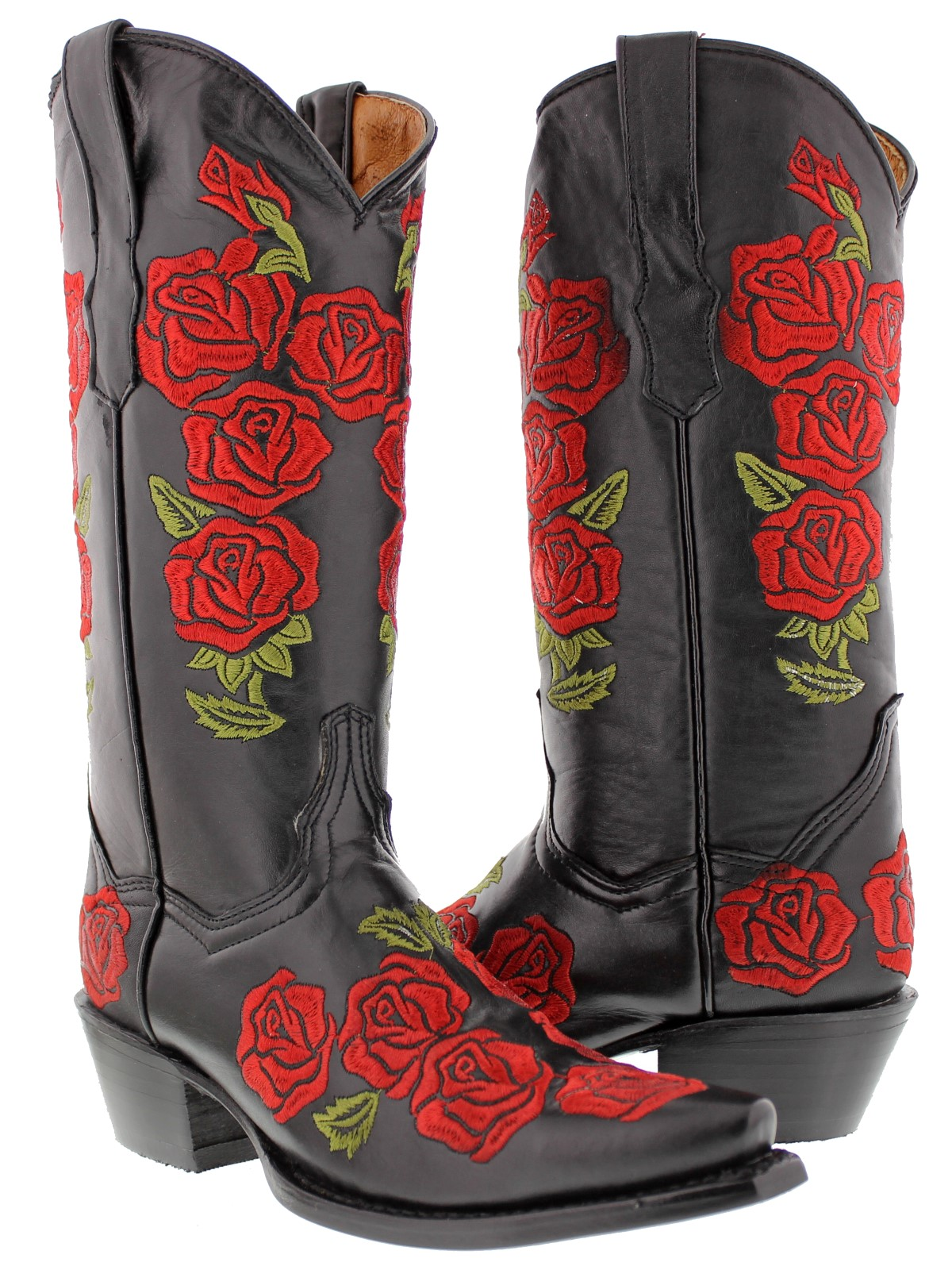 Womens Black Rose Flower Embroidered