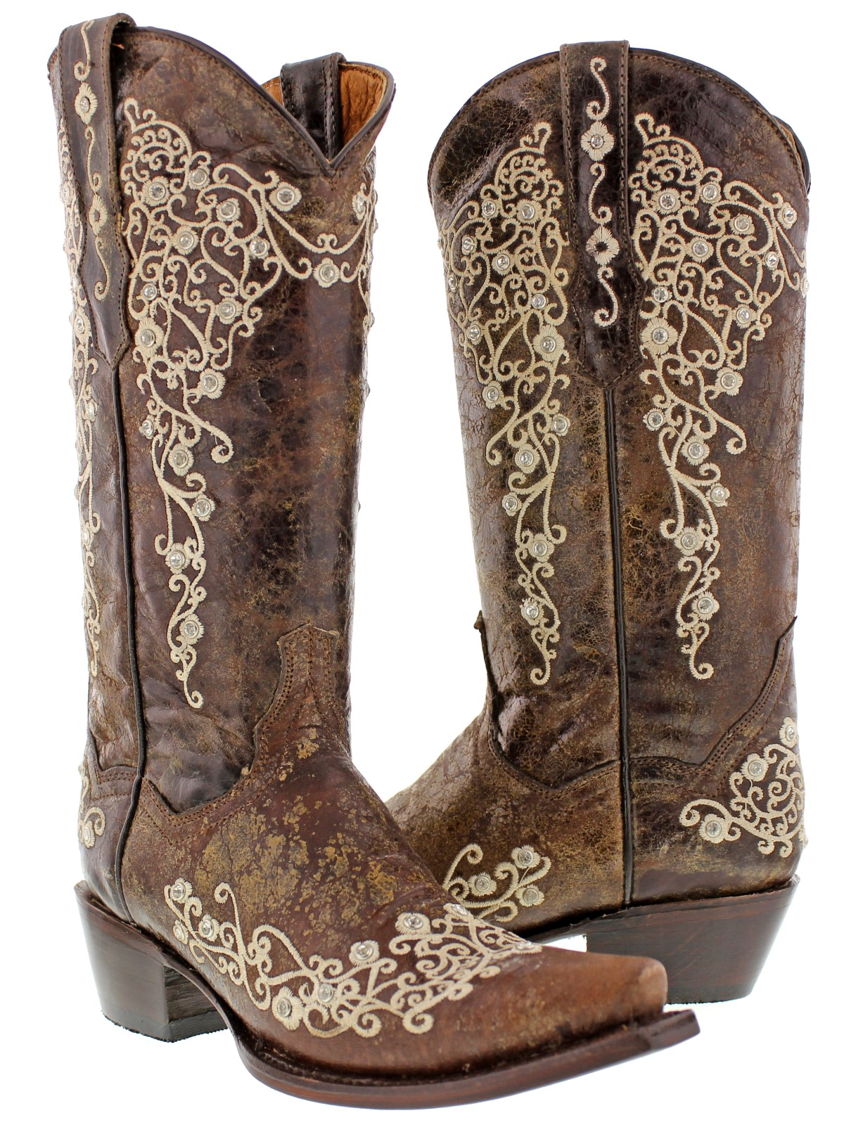 Details about Women\u0027s Medium Brown Western Leather Cowboy Cowgirl Boots  Embroidered Snip Toe