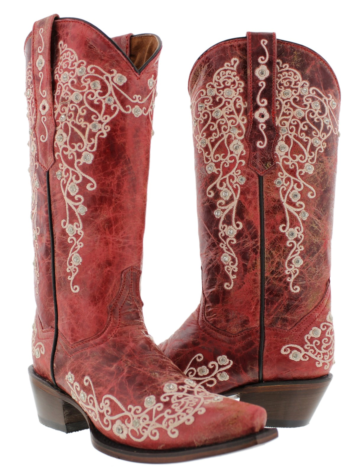 Womens Classic Red Western Leather
