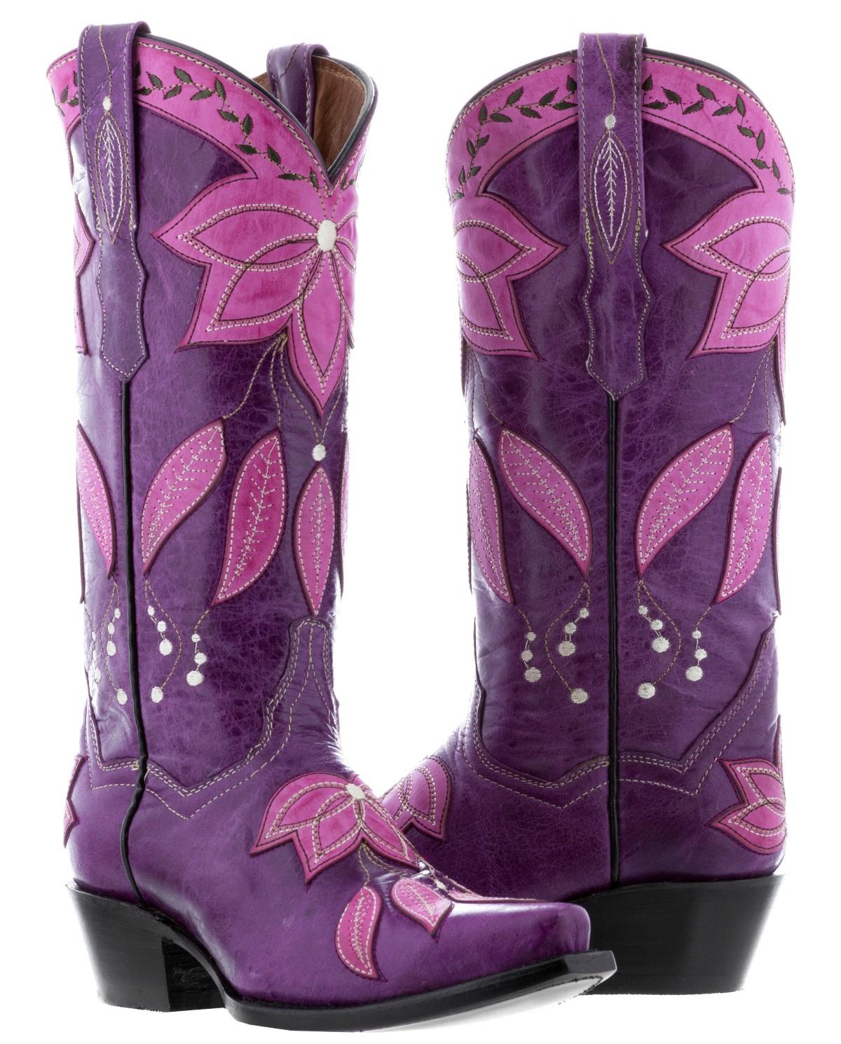 1b95f55c6b5 Womens Purple Leather Fall Cowboy Cowgirl Boots Pink Overlay Leaves ...