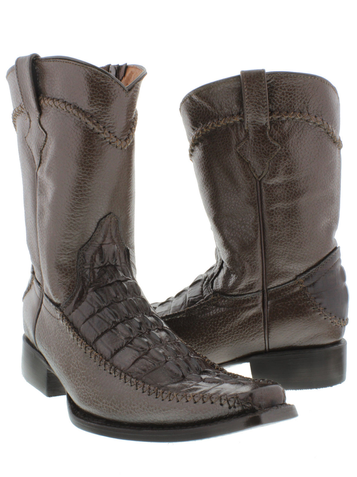 low price sale wholesale outlet cheapest Mens Brown Crocodile Tail Print Dress Leather Cowboy Boots Zip Up ...