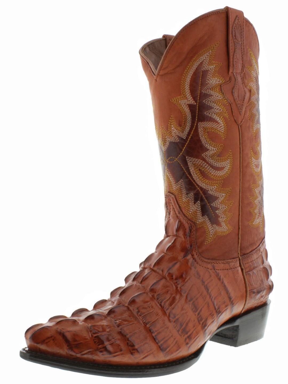 2b9d9e0e78f Mens Cognac Alligator Tail Western Wear Cowboy Boots Rodeo Leather ...