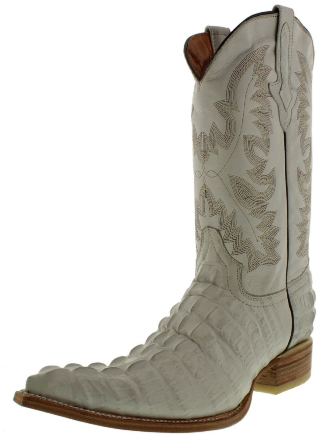 3bb519c3dafb Mens Off White Alligator Tail Print Western Leather Cowboy Boots Tan ...