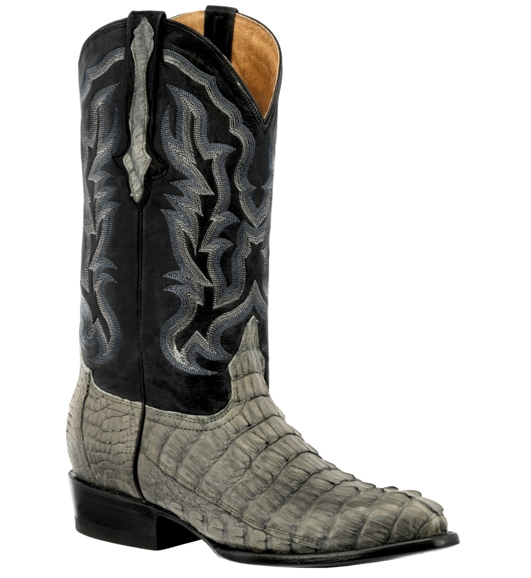 Mens Gray Genuine Crocodile Alligator Skin Leather Cowboy ...