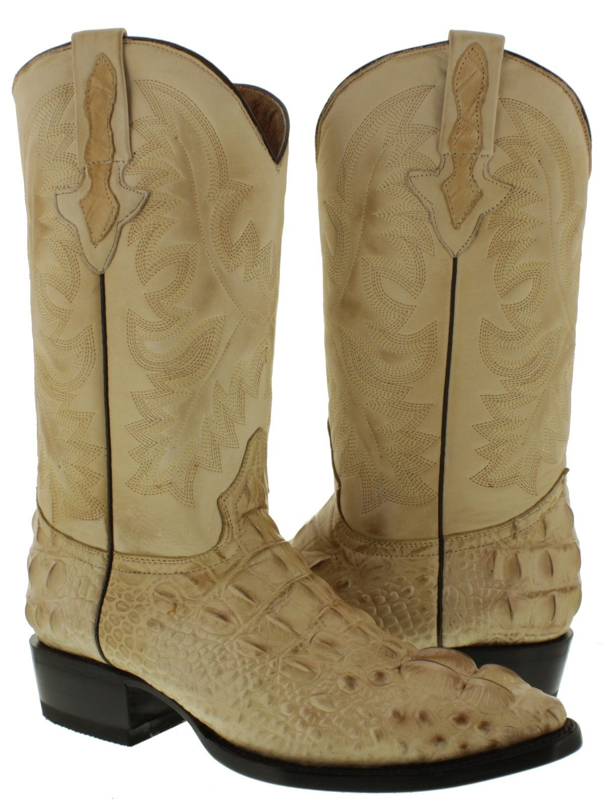 Mens New Sand Crocodile Alligator Tail Western Ranch Cowboy Leather J Toe Boots
