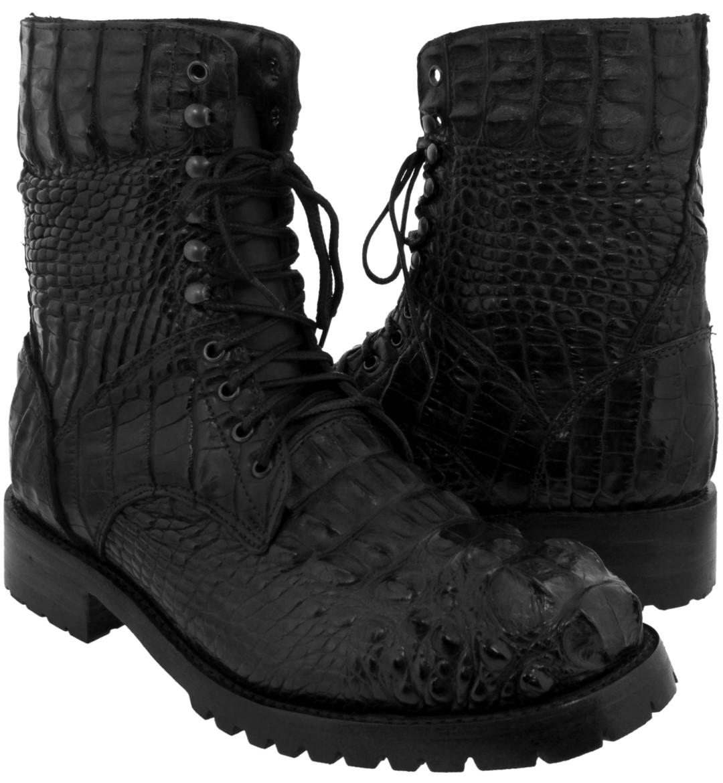 Men's Black Exotic Alligator Skin Motorcycle Combat Boots Bi