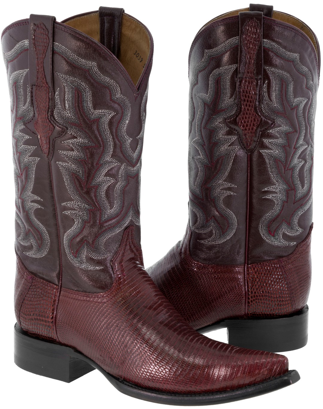 1806437fd9b Details about Men's Burgundy Genuine Teju Lizard Exotic Skin Leather Cowboy  Boots Pointed Toe