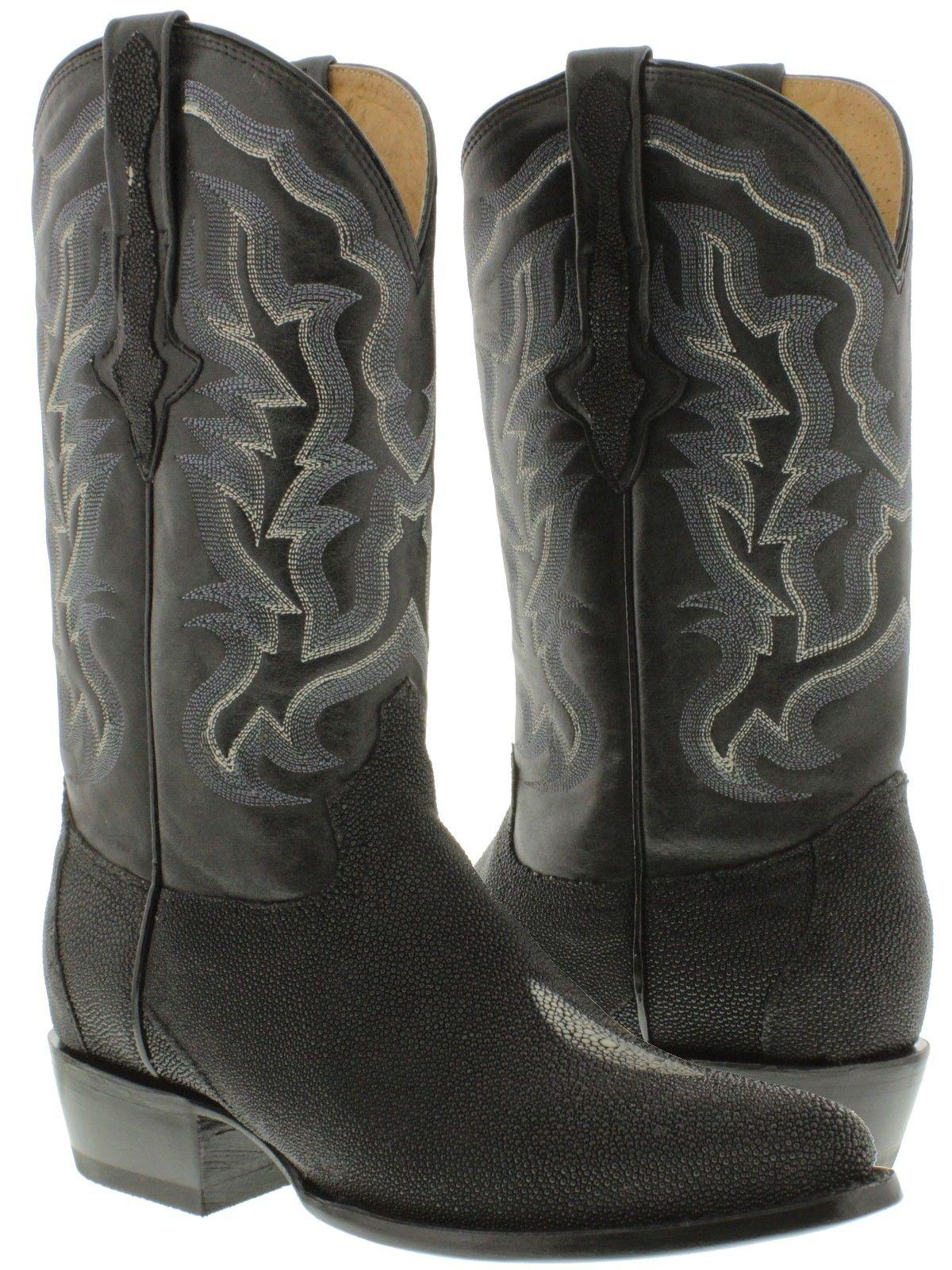 Mens Genuine Stingray Skin Leather Western Cowboy Boots